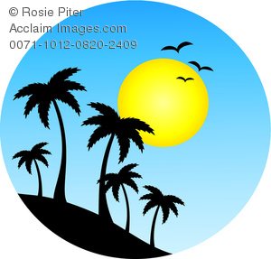 Clipart Image of Island Palm Trees Silhouetted Against the Sun on.