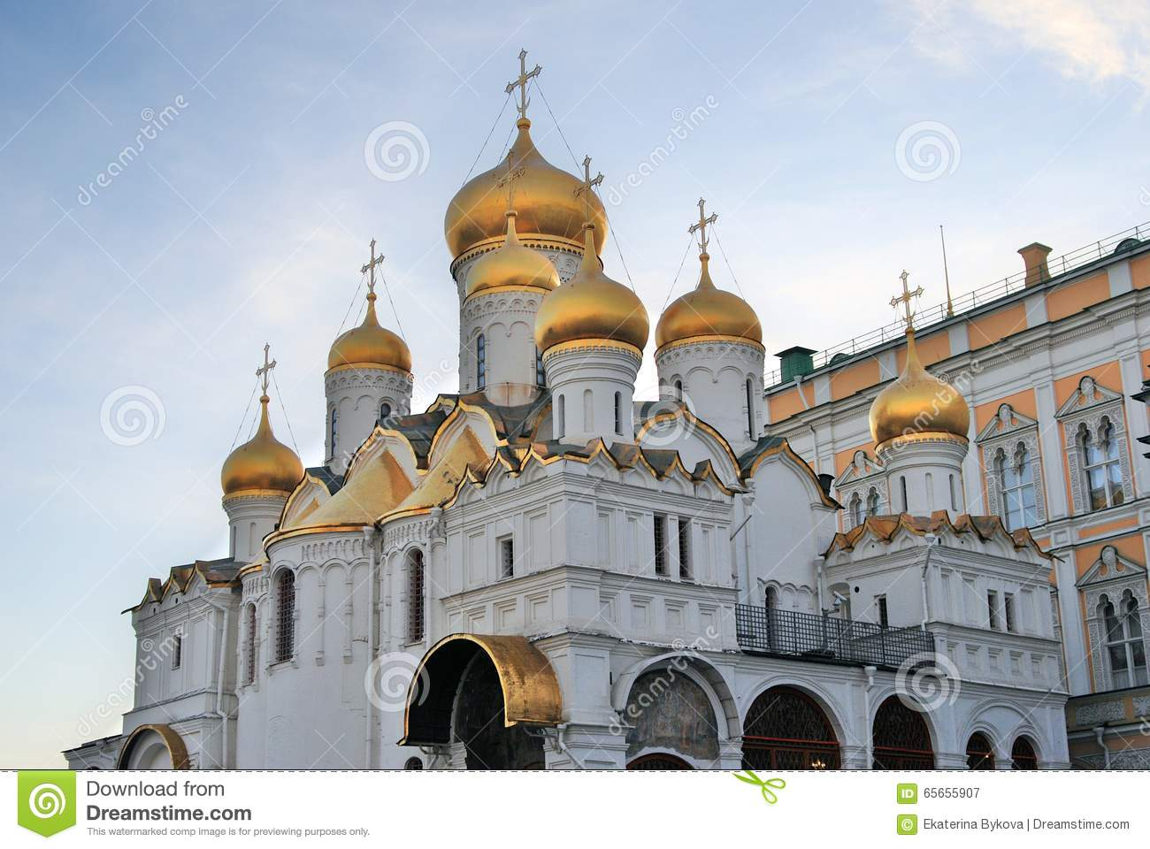 Moscow Kremlin. Annunciation Church. Blue Sky Background. Stock.