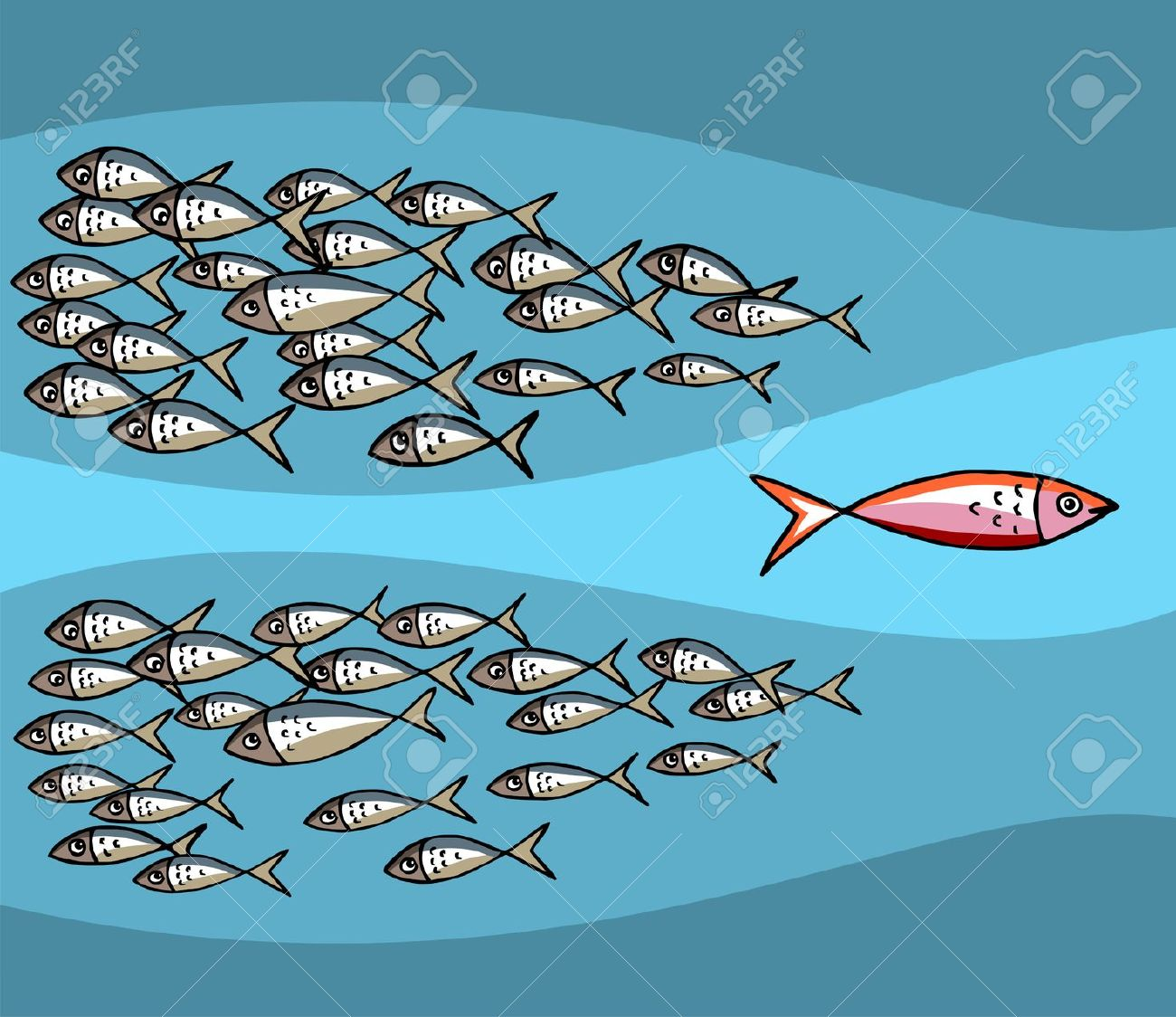 Different Fish Swimming Against The Tide. Royalty Free Cliparts.