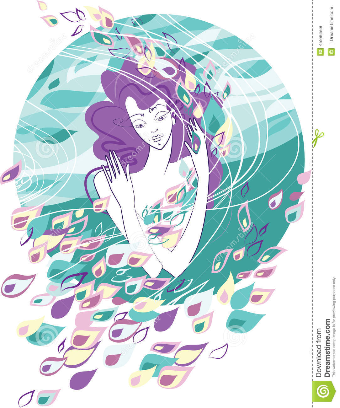 Woman Against The Wind Stock Vector.