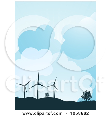 Clipart Illustration of Wind Farm Turbines And Solar Panels.