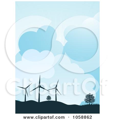 Clipart Illustration of Wind Farm Turbines And Solar Panels.