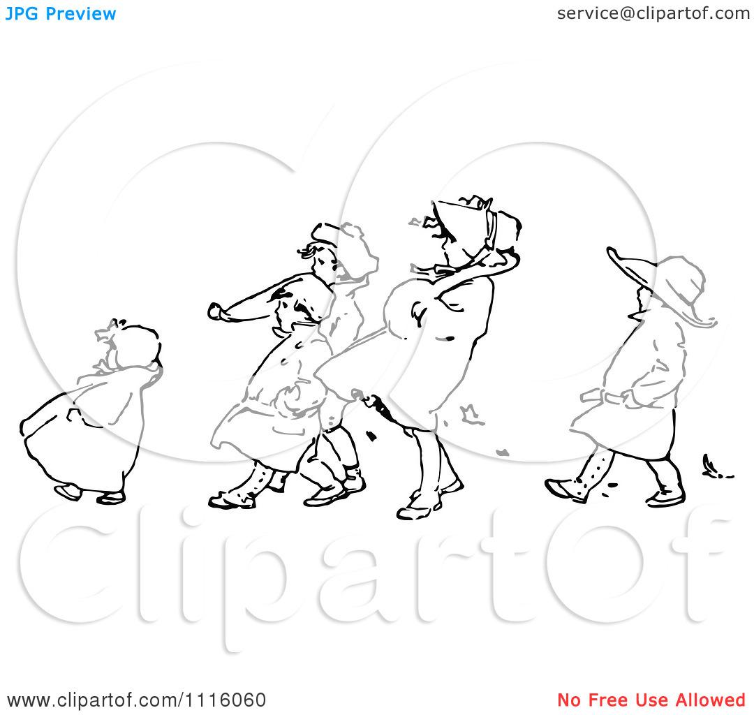 Clipart Retro Vintage Black And White Children Walking Against The.