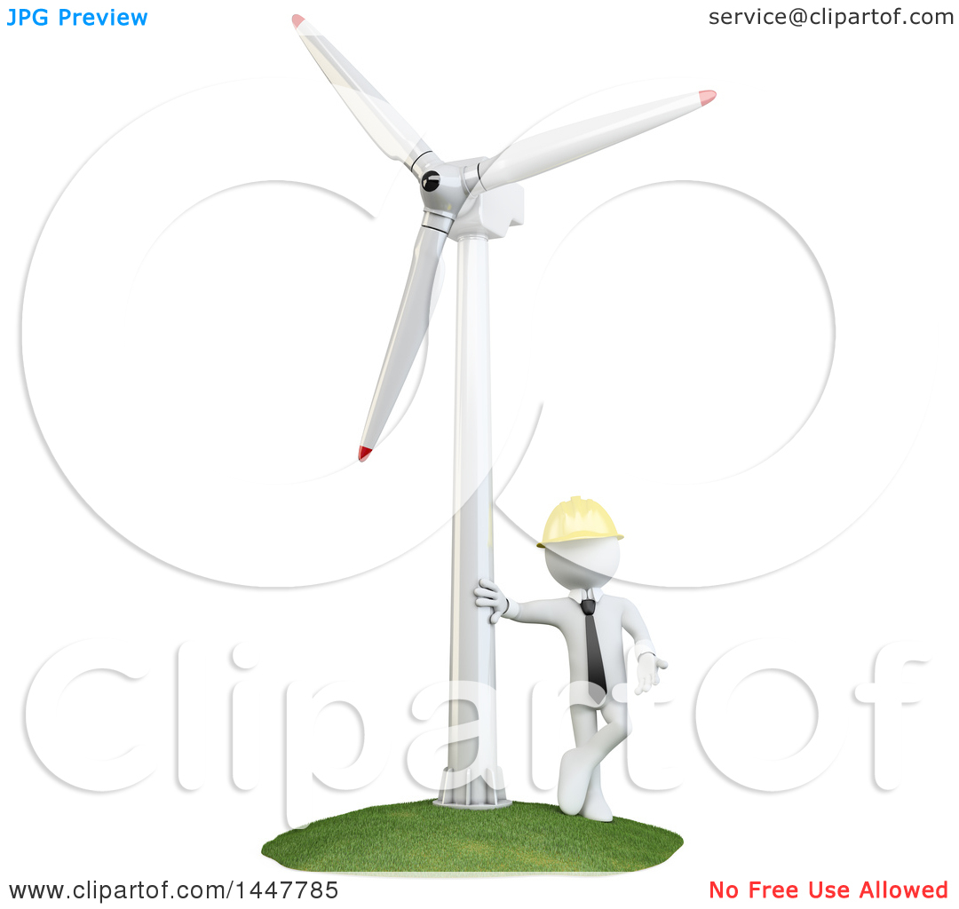 Clipart of a 3d White Man Technician Leaning Against a Wind.