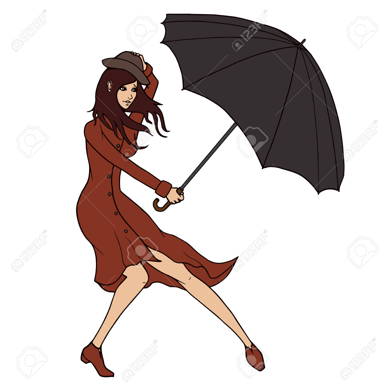 Young Woman Holding An Umbrella Against The Wind Illustration.