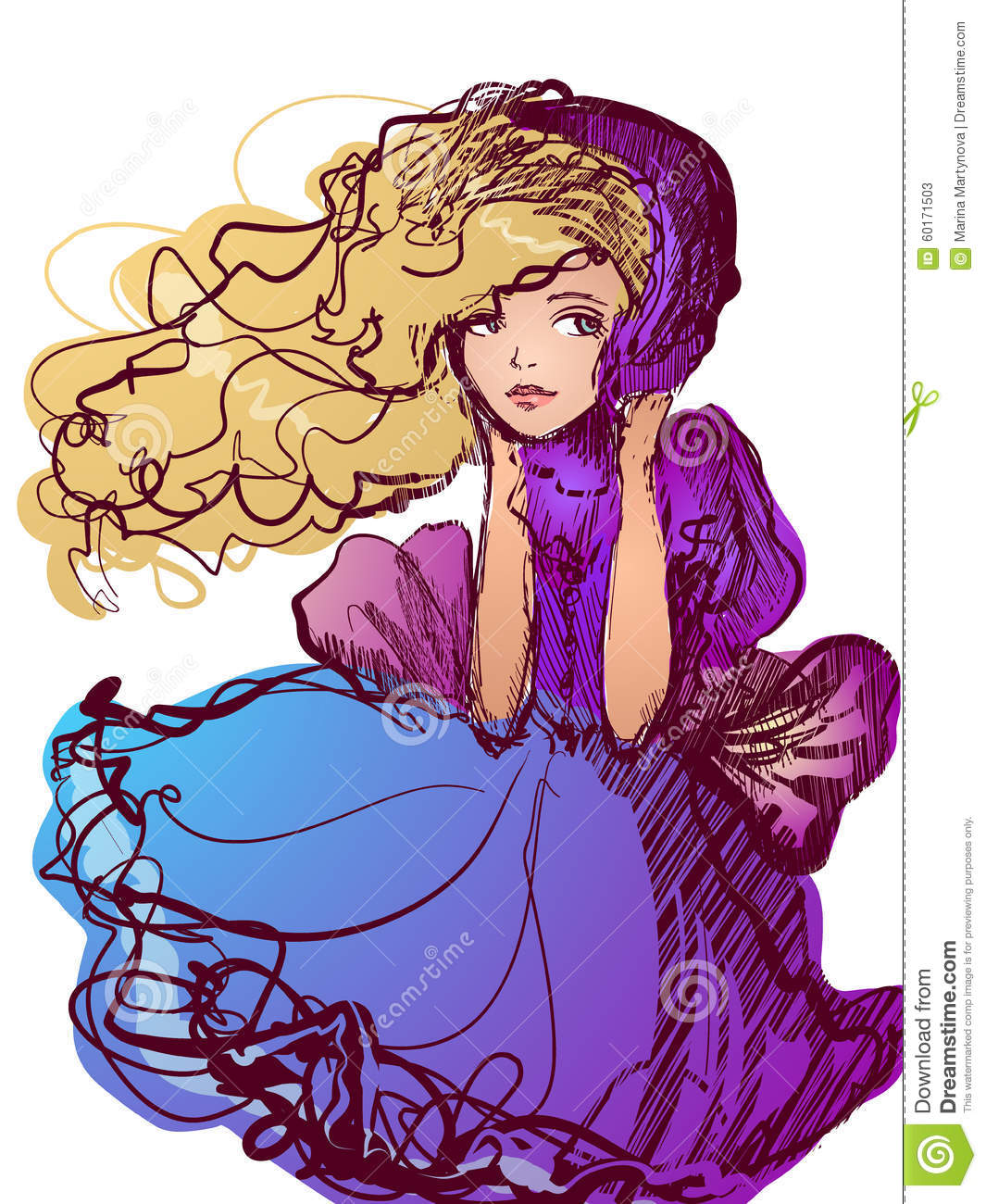 Girl In The Purple Cape, Standing Against The Wind Stock Vector.