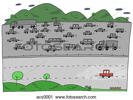 Clipart of A car going against traffic on the highway acs0001.