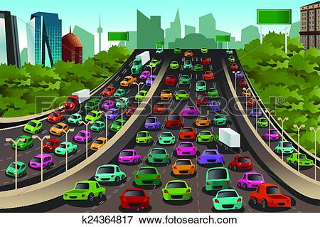 Clip Art of Traffic on a highway k24364817.
