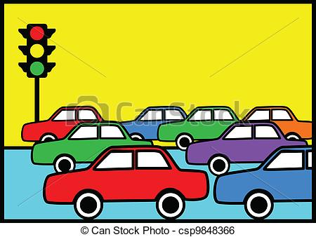 Cars In Traffic Clipart.