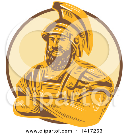 Clipart of a Sketch of Agamemnon, King of Mycenae, with Folded.