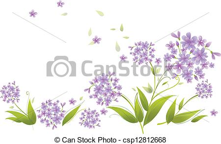 Clip Art Vector of Spray of blue agapanthus flowers.