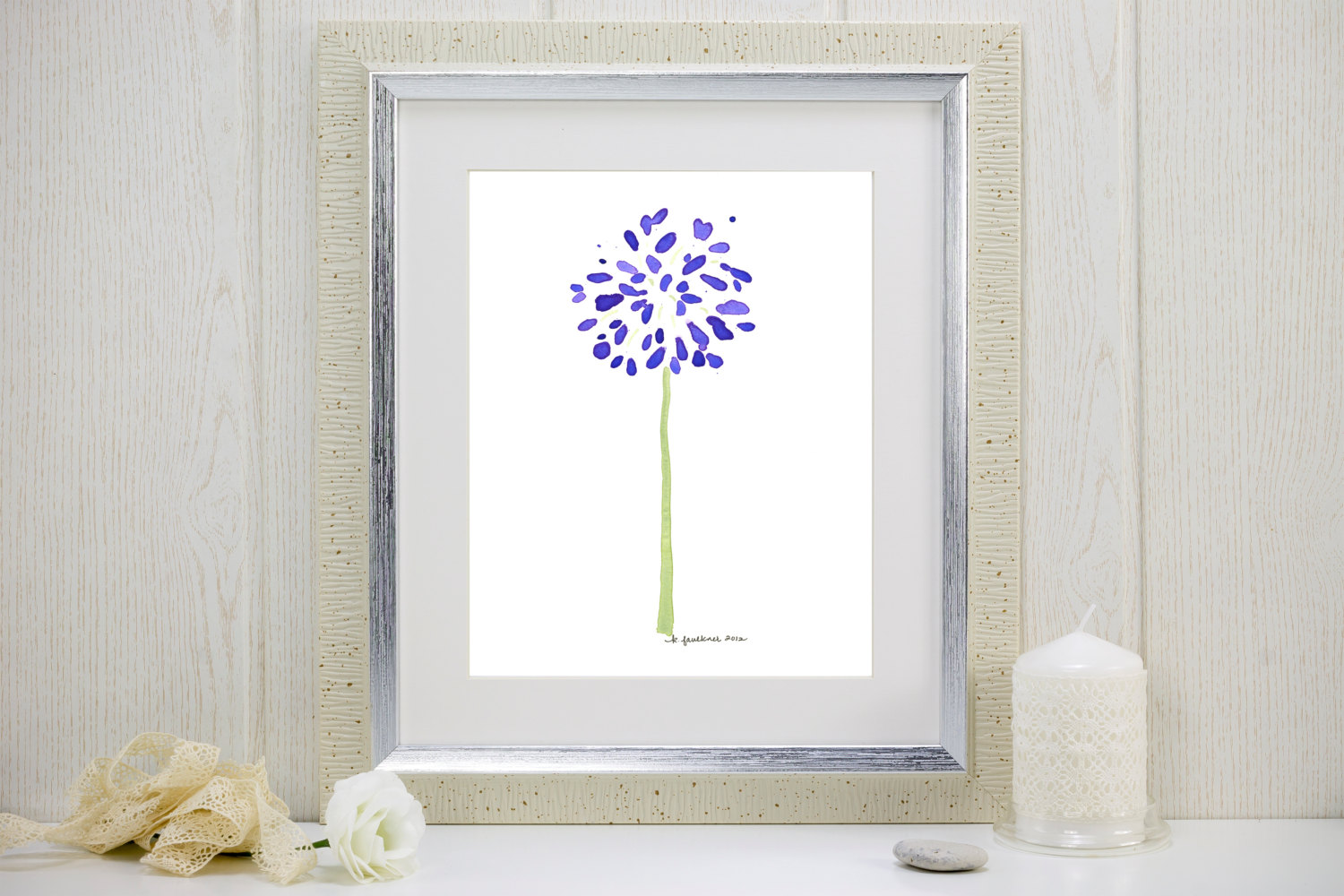 Watercolor flower art print of purple agapanthus: Abstract Agapanthus.