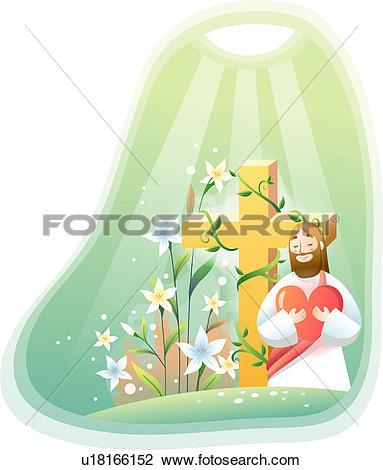 Clip Art of heart, jesus christ, flower, lily, cross, faith.