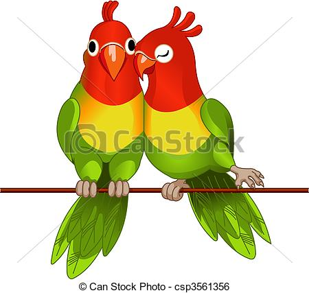 Clip Art Vector of Pair of lovebirds.