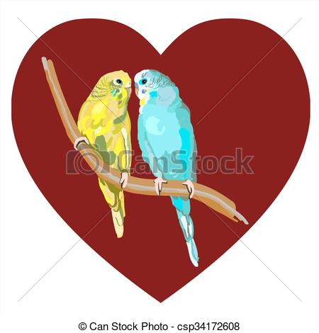 Vector Clipart of Pair of lovebirds agapornis.