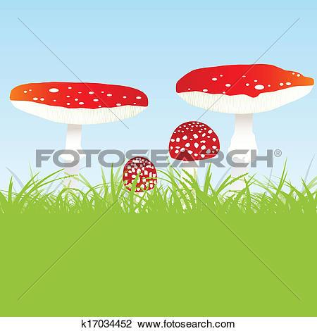 Clipart of Fly agaric mushroom family vector background k17034452.