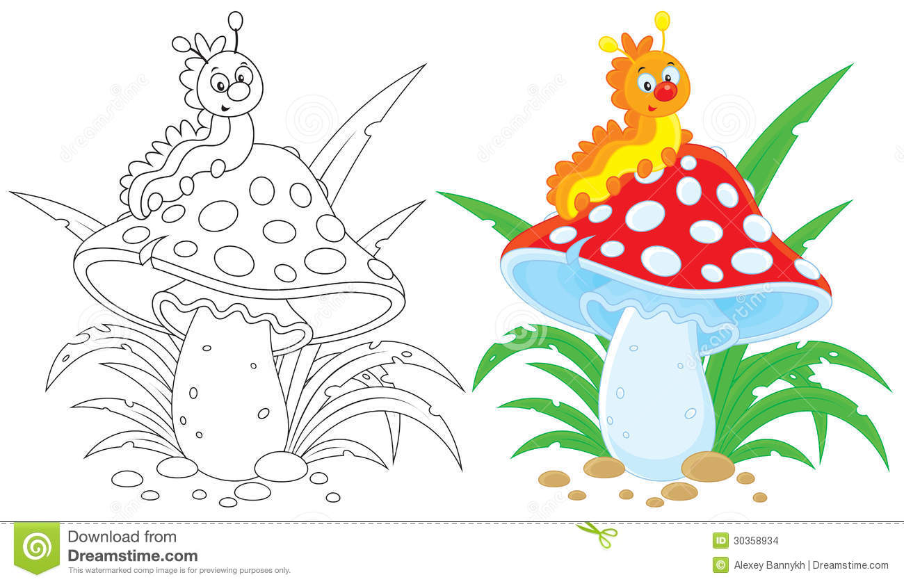 Caterpillar And Fly Agaric Stock Images.