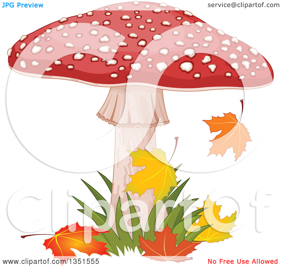 Clipart of a Fly Agaric Mushroom with Grass and Autumn Leaves.