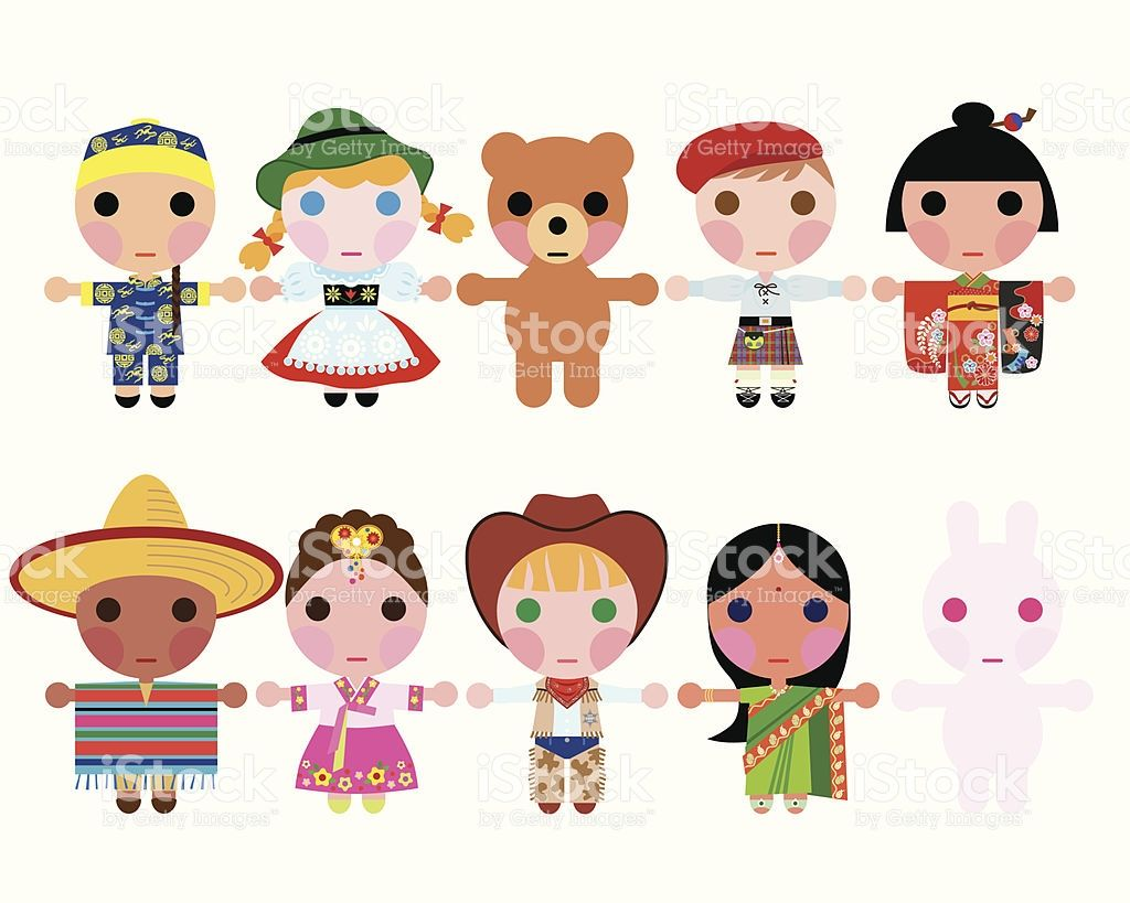 Children/Dolls wearing traditional clothing holding hands.