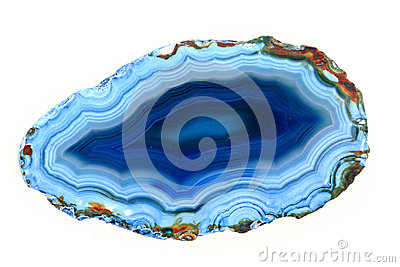 Slice Of Blue Agate Crystal On A White Background Stock Photos.