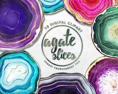 Agate Slices Digital clipart, Agate digital paper, crystal.
