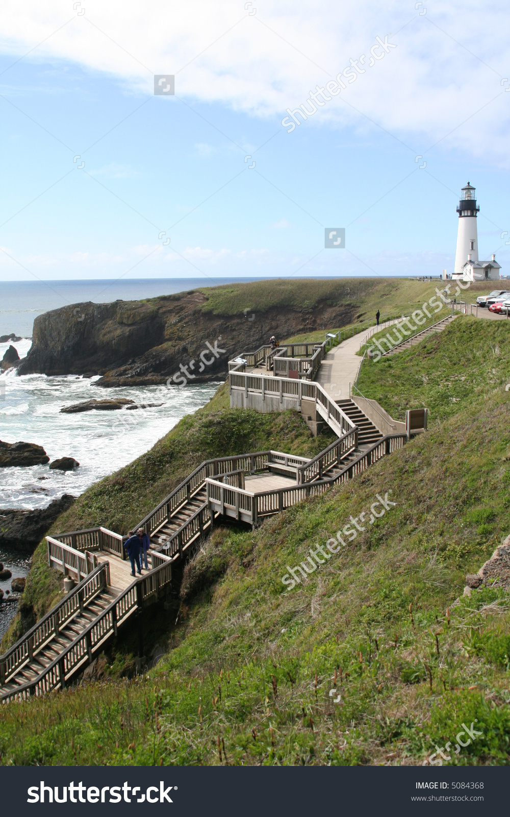 Wooden Stairs To Beach, Misty Day, Yaquina Head Lighthouse, Agate.