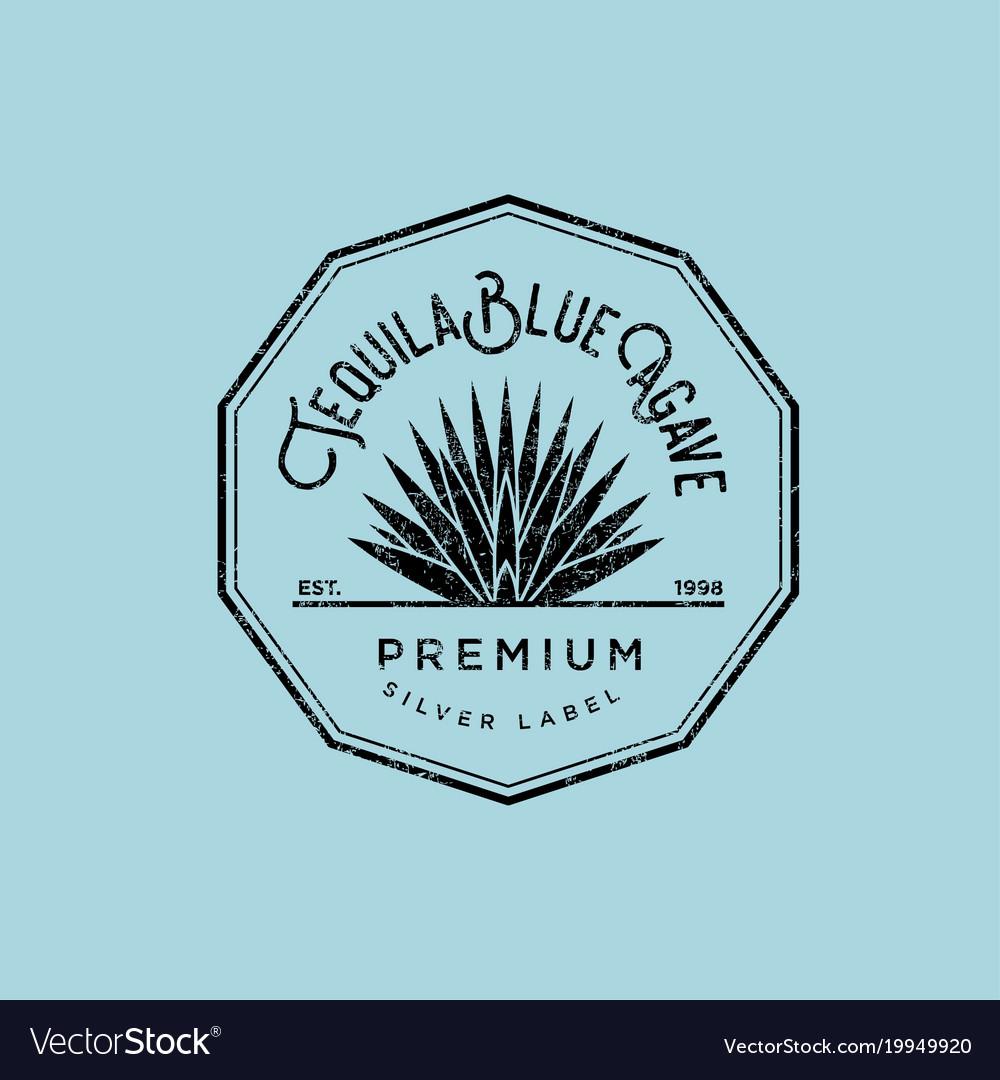 Logo tequila label blue agave premium.