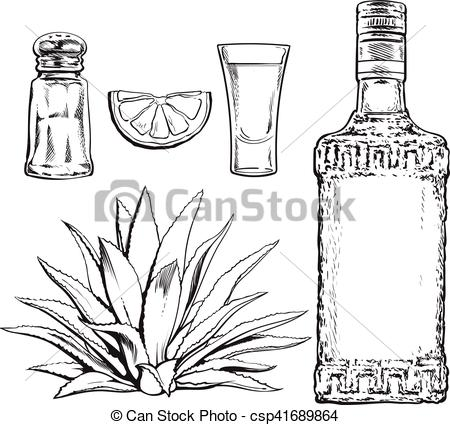 Clip Art Vector of Set of tequila bottle, shot, salt mill, agave.