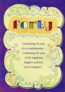 Details about Forty Colored Letters Die Cut Windows Purple Border Age 40 /  40th Birthday Card.
