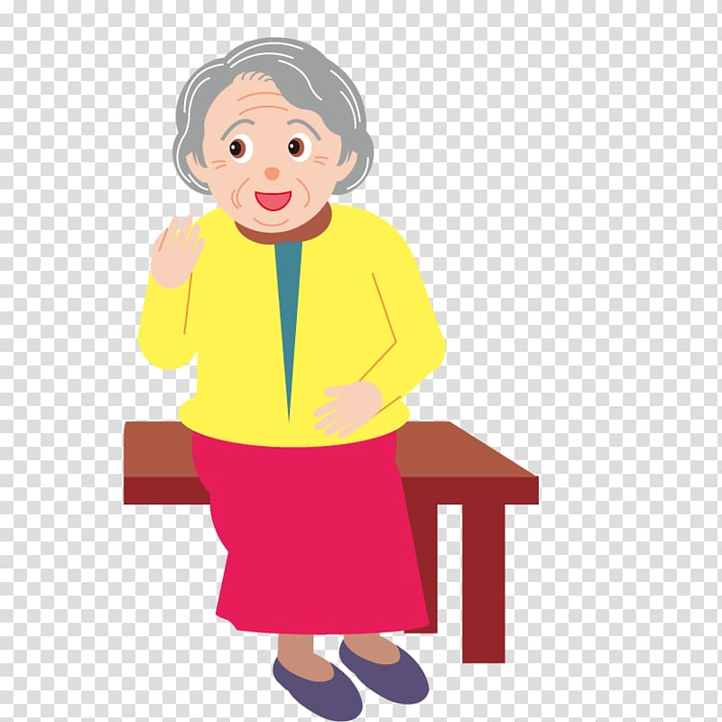 Old age Child , Elderly woman transparent background PNG.
