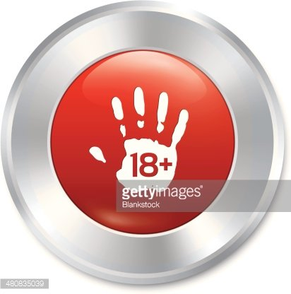 Adults only hand button. Age limit. Isolated. Clipart Image.