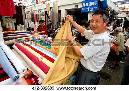 Stock Photograph of China. Shanghai, old textile market e12.