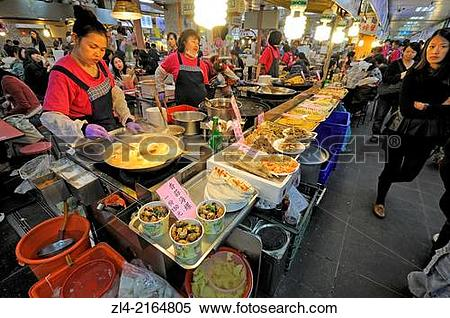 Stock Image of Food court and restaurants in the large Shilin.
