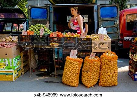 Stock Photograph of Market stall outside Pieta Centrala.