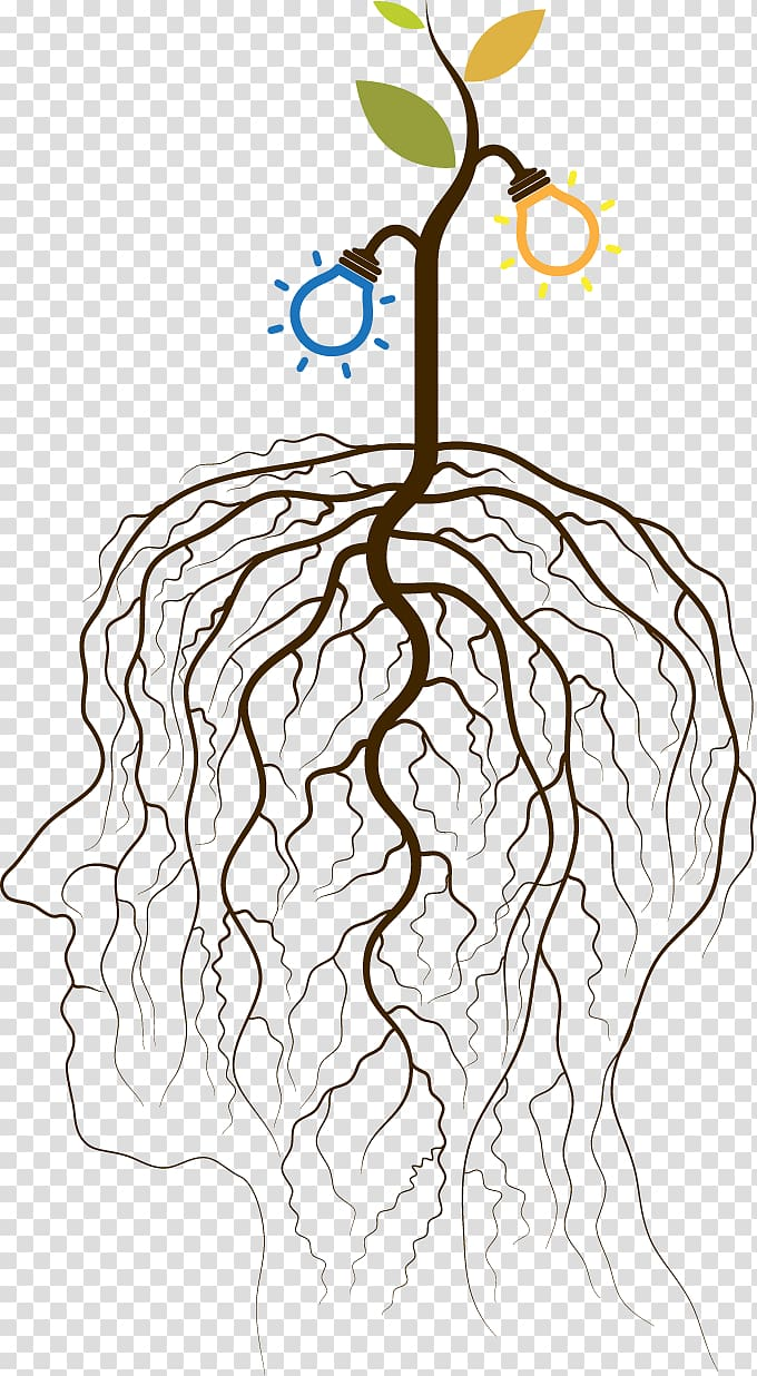 Roots illustration, Age of Enlightenment Concept Idea.