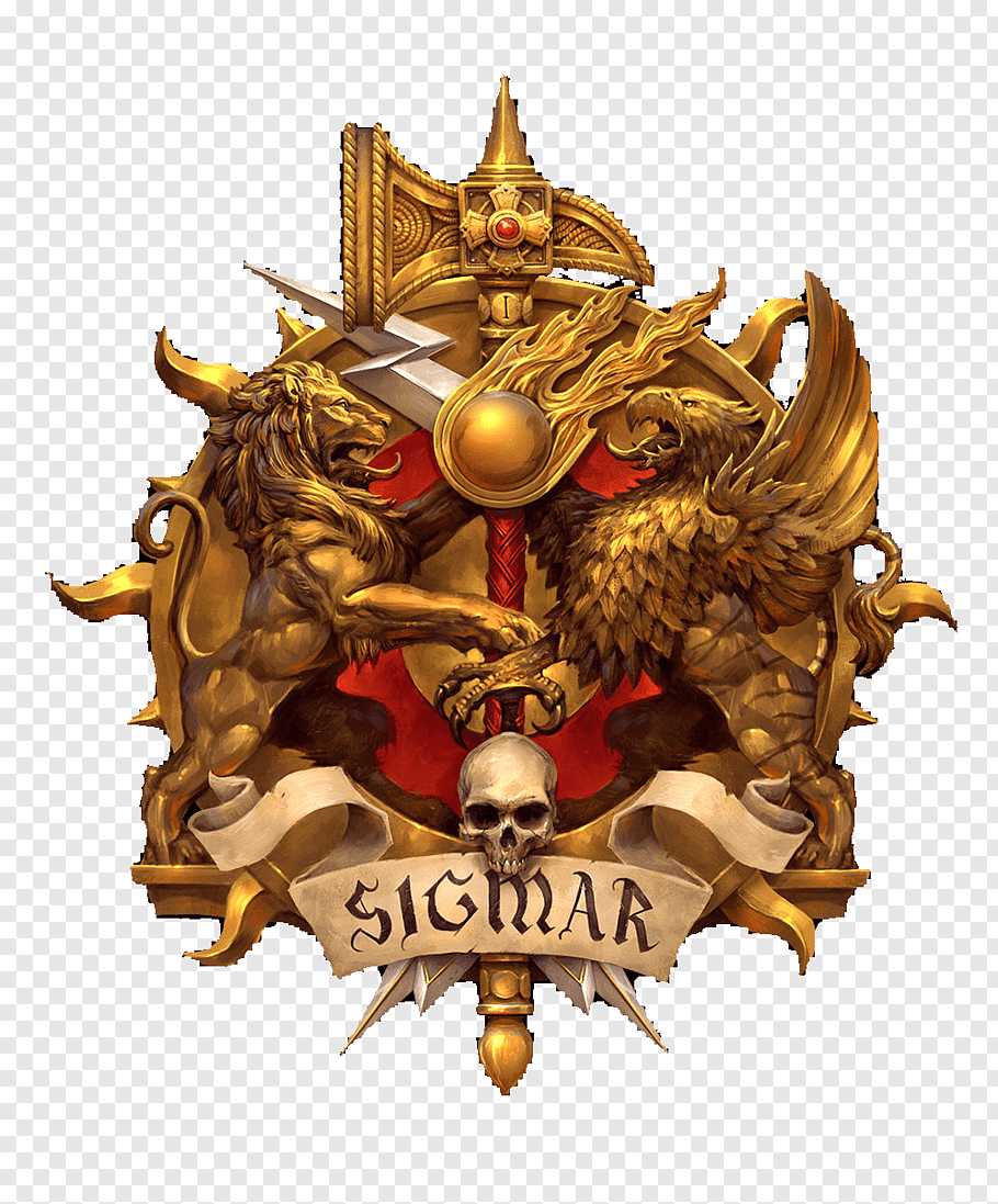 Gold and red Sigmar logo art, The Legend of Sigmar Warhammer.