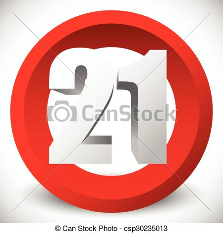 Vector Clip Art of 3d red age restriction sign, icon. Vector.