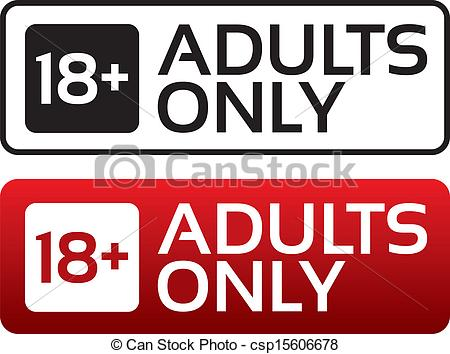 Vectors Illustration of Adults only content button. Age limit.