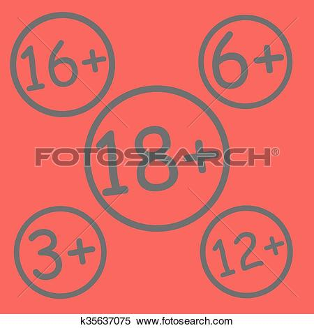Clipart of Red age restriction sign k35637075.