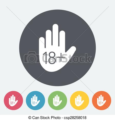 Vector Clip Art of Age restriction. Single flat icon on the button.