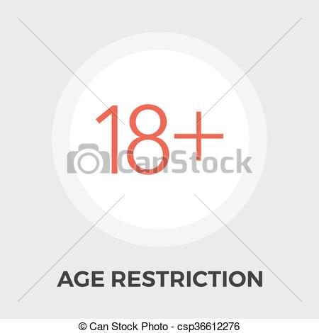 Vectors Illustration of Age Restriction Flat Icon.