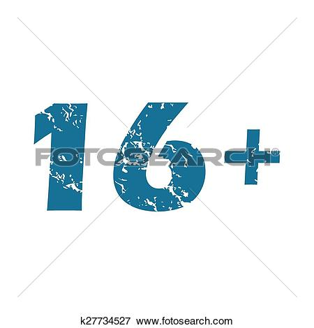 Clip Art of Grunge age restriction icon k27734527.
