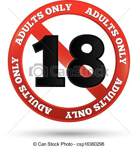 EPS Vectors of Adults only content sign. Vector age limit icon.