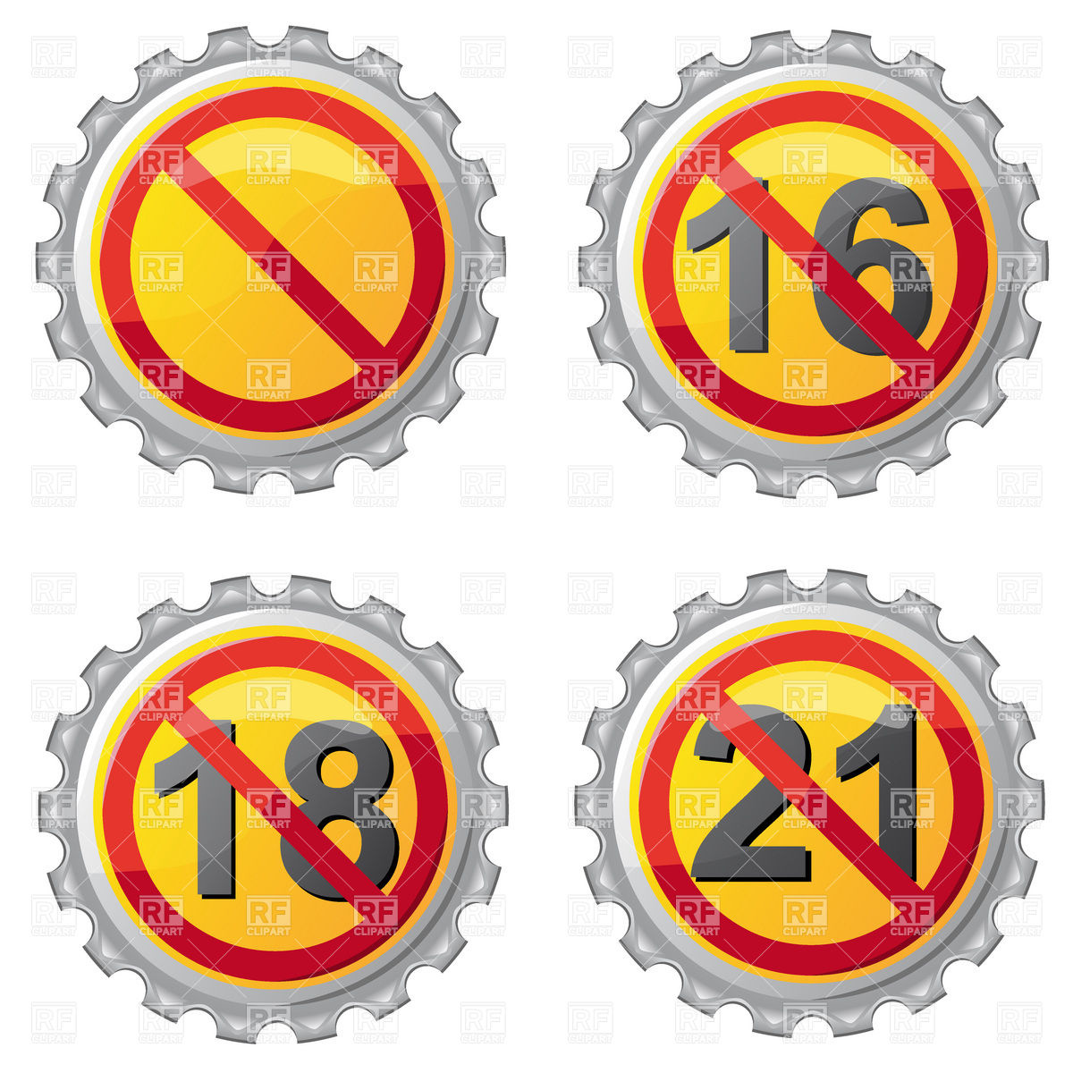 Beer lids with age restriction sign Vector Image #19137.