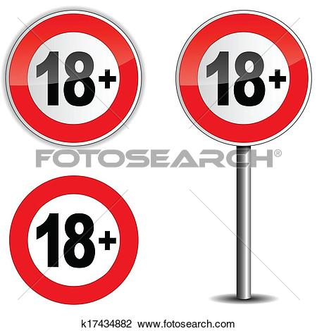 Clipart of Age restriction sign k18040632.