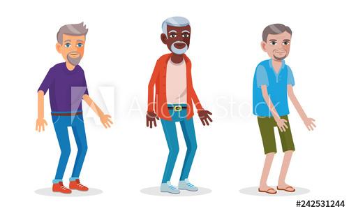 Cartoon illustration of asian, african and european men in.