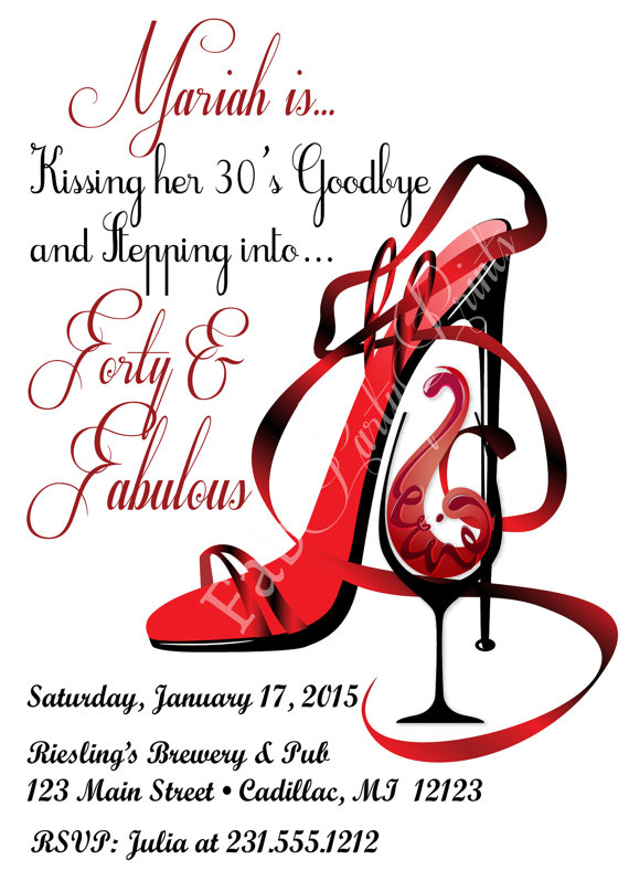 Red Shoe Red Wine Birthday Invitation Birthday Invitations by.