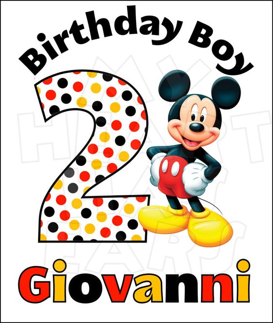 Disney Mickey Mouse Birthday image Custom Name and Age.