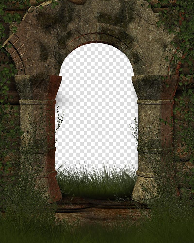 Entrance to Old Age, beige concrete structure transparent.