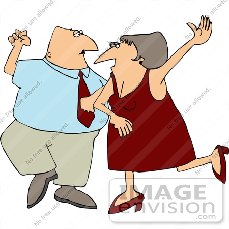 Middle Aged Caucasian Couple Dancing Clipart.